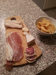 I don't have a picture of the meal so here is the charcuterie plate I made instead!