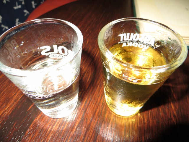 How a Canadian and an Australian celebrated St. Patrick's day in Poland! (the vodka on the right is pretty much the only vodka I like - bison grass vodka!)