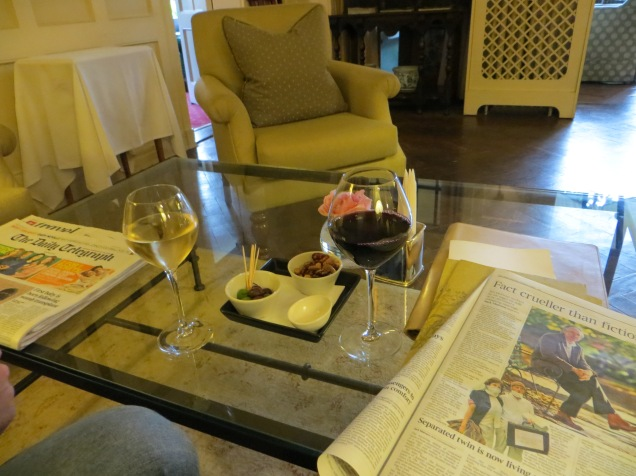 Wine and the Sunday papers!