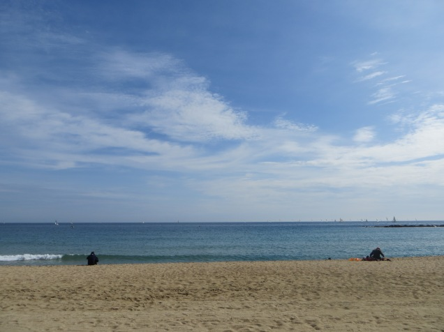 Beach in Barcelona! Far too cool to swim, but still lovely.